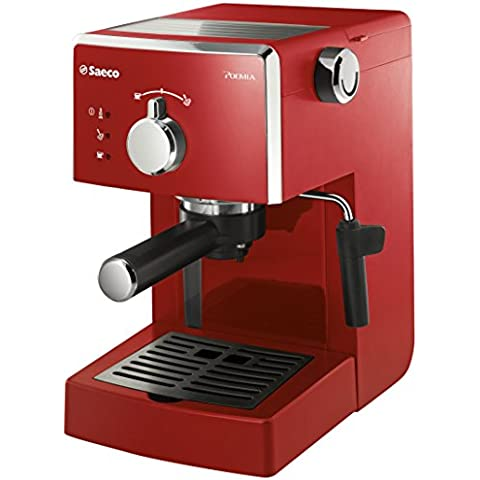 Saeco Poemia Focus HD8423/22 - Máquina de café espresso manual para café molido y monodosis E.S.E., 950 W, color rojo