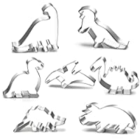 TANCUDER 7 Pcs Cookie Cutters Dinosaur Biscuit Moulds Fondant Cookie Cutters Stainless Steel Biscuit Cutter Dinosaur Biscuit Mould Set Baking for DIY Fondant Dough SugarCraft Pastry Cake Decoration