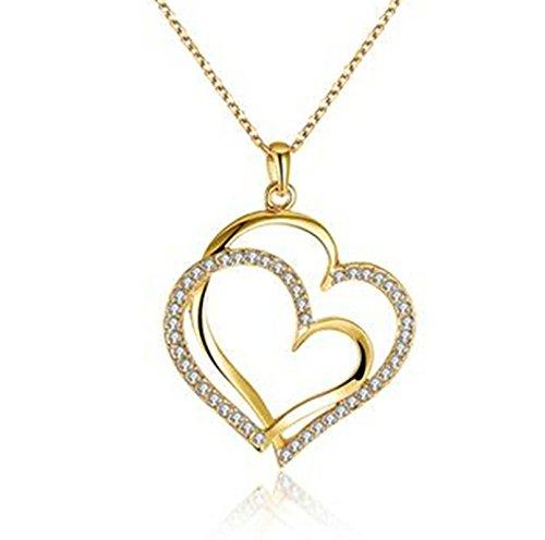 Anyeda Halskette Anhänger,Damen Vergoldet Hypoallergen Design Herzform Gliederkette Schmuck Geschenk Größe 50X4.1X5.3Cm