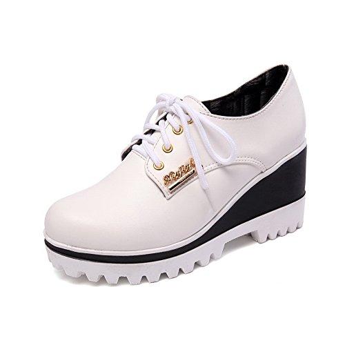 AllhqFashion Damen Rund Zehe Schnüren Pu Leder Rein Hoher Absatz Pumps  Schuhe Weiß