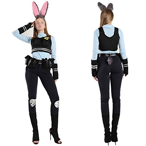 Santa Blue Kostüm - Anime Cosplay Kostüm Damen Halloween Kostüme Kostüm World Book Day Kostüm für Erwachsene Miss Rabbit,Black Blue 14pcs-M