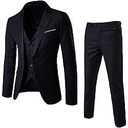 ZhuiKun Traje de 3 Piezas para Hombre con Chaqueta, Chaleco y Pantalones Negro L