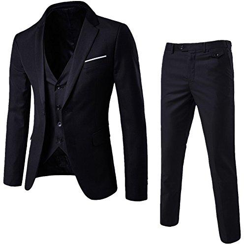 Abito Uomo 3 Pezzi Vestito Completo Smoking Slim Fit Aderente con Blazer Pantaloni Gilet Nero M