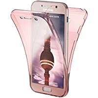 Samsung Galaxy A5 2017 Funda Carcasa Protectora 360 Grados de NICA, Movil Silicona Ultra-Fina Transparente, Doble Delantera torno a la protección, Cubierta Goma Bumper Cover Case, Color:Rosa Gold Oro
