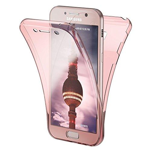 NALIA Funda Carcasa para Samsung Galaxy A5 2017, Protectora 360 Grados, Movil Silicona Ultra-Fina Transparente, Doble Delantera torno a la protección Cubierta Goma Bumper Cover Case, Color:Rosa Gold Oro