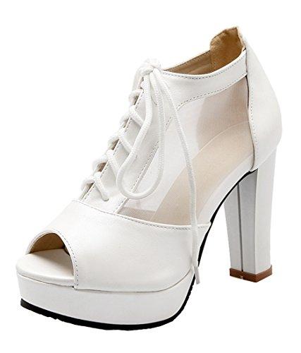 0559836df7fba7 YE Peep 10cm Plateau Toe Blockabsatz Damen Schnürung Absatz Elegant Pumps  Weiß Heels High Schuhe mit xxtqPwfBr