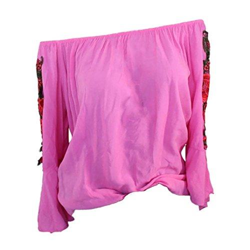 Xiantime Damen Langarmshirt, Damen Bluse Frauen Langarm Bestickt -