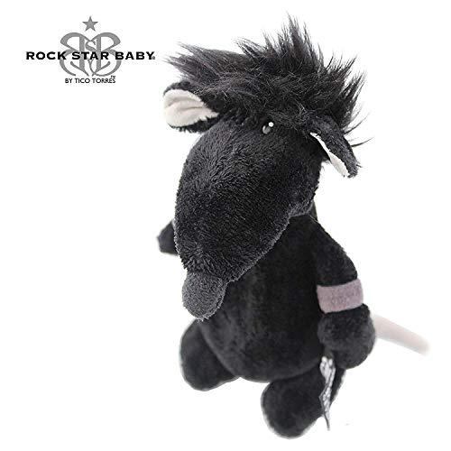 ROCK STAR BABY by NICI - Maus Ratte Kuscheltier - 14 cm - RSB Stofftier - Rock'n Roll fürs Kinderzimmer - Schlagzeuger Tico Torres Design - schwarz -