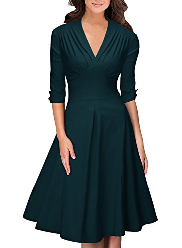 OWIN Damen 3/4 Arm Ballkleid Rockabilly Cocktailkleid Stretch Business Vintage 50er Jahre Kleid