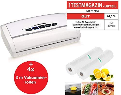 VacuPack FS82 Vakuumierer Vakuumiergerät mit Folienschweißer, 30cm Schweißnaht, Sous Vide Garen geeignet, Lebensmittel Folienschweißgerät hält 8x länger frisch,inkl. 4x 3 m Vakuumierfolie