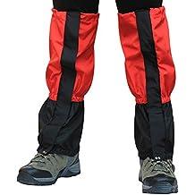 1 Par Ultra-ligero Portátil Transpirable Contra Serpiente Anti-desgarro Alta Nieve Polaina con Fijación y Cierre de Cremallera para Actividades al Aire Libre Cualquier Rojo