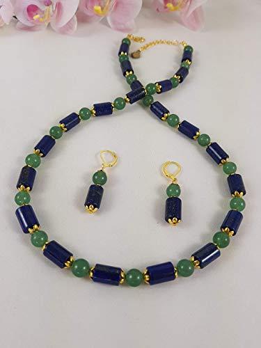 chmuckset Kette/Collier und Ohrschmuck/Ohrhänger aus grünem Aventurin Kugelperlen und blauen Lapis Lazuli Walzen; Edelsteine/Heilsteine