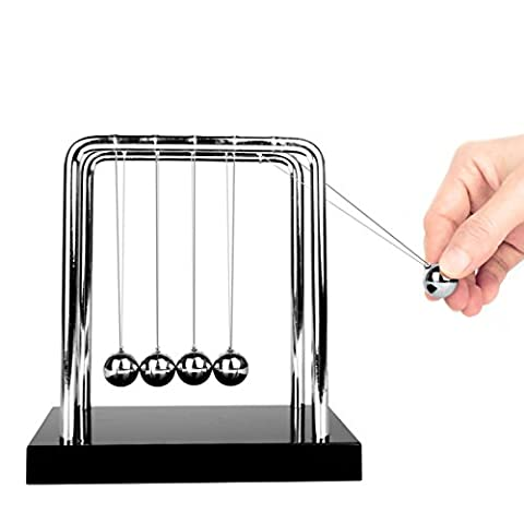 Glantop DT Upgrades Newton's Cradle Art in Motion with Metal Balance Ball and Solid Wooden Base (Black, Medium