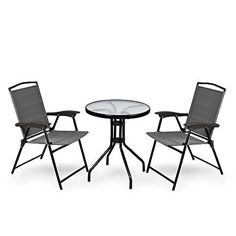 Gartentisch +2 Stühle Glas Rund Balkontisch Bistrotisch Gartenmöbel Terasse 60cm, Farbe:grün /