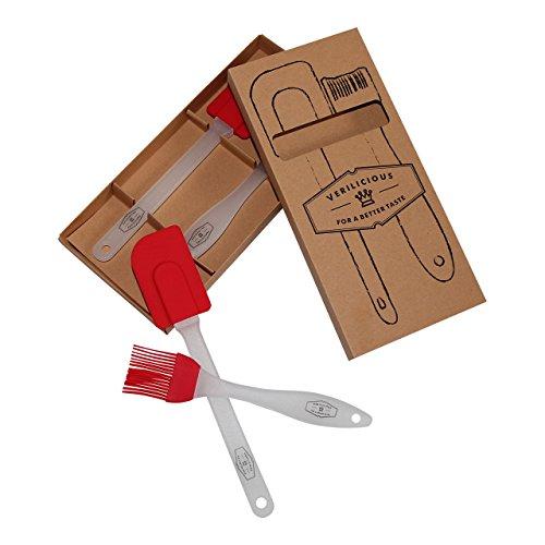 Teigschaber & Backpinsel Set: Langlebige Silikon Küchenhelfer in Rot, ideal als Geschenk. Biegsamer Teigspachtel / Pinsel ohne Naturborsten ♥ Verilicious