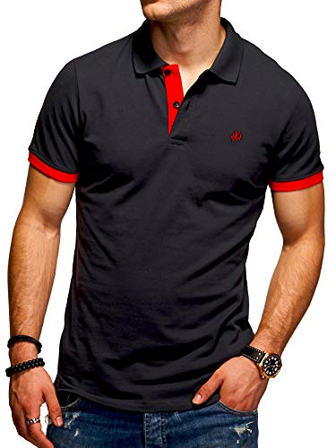 JACK & JONES Polo para Hombre Camiseta Camisa Manga Corta Unicolor (M, Tap Shoe/Red)