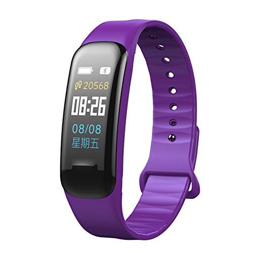 Farbe Bildschirm Slim Fitness Tracker, qimaoo Sport Smart Uhr mit Herzfrequenz Blutdruckmessgerät, IPS-Display Armband Schrittzähler Schlaf Monitor für Männer Frau Kinder unterstützt IOS Android Smartphones, violett