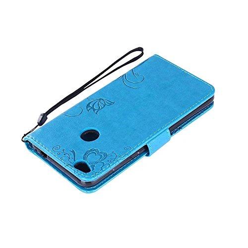 Premium PU Leder Folio Stand Case, Solid Farbe prägeartig Blumen Stil Schutzhülle Tasche Tasche mit Lanyard & Card Slots für Huawei P8 Mini 2017 (P8 Lite 2017) ( Color : Green ) Blue