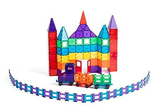 Award-Winning-Playmags-Clear-Colors-Magnetic-Tiles-Deluxe-Building-Set-150-Piece-Set-Includes-2-Cars