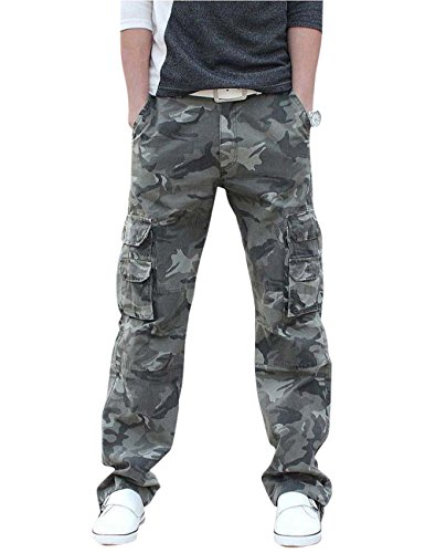 Menschwear Herren Cargo Hosen Freizeit Multi-Taschen Military pantaloni Ripstop Cargo da uomo (36,Camouflage 2)