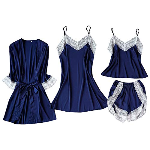 4 Stück Satin Seiden Pyjama Set Mode Cardigan Aus Spitze Nachthemden Schlafanzüge Bademäntel Nachthemd Bademantel Damen Roben Unterwäsche Charme Nachtwäsche Sexy Dessous Sets