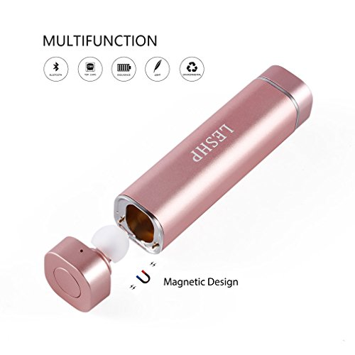 LESHP 2 In 1 Bluetooth Headset with Portable Power Bank (Pink)