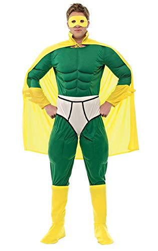 ORION COSTUMES Lustiger Superheld Jumpsuit Kostüm grün-gelb XL