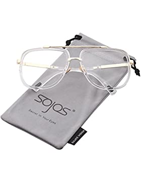 6f7ad3c4ba SOJOS Gafas de Sol Unisex Hombre Mujer Aviador Rectangulares Moda Grande  Dos Puentes Metal SJ1080