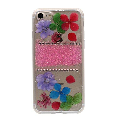 """iPhone 6S Coque Case Joli Briller Rose Poudre Bling Cristal Strass Exquis Fleurs Muster Flexible Transparente étui pour Apple iPhone 6 6S 4.7"""" Anti Choc Mince et Poids léger Rose"""