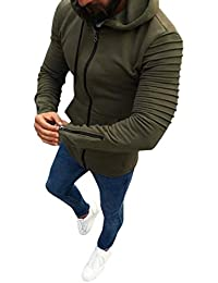 BUSIM Men's Long Sleeve Jacket Autumn Casual Zip Jacket Slim Fit Solid Color Jacket Hoodie Sweatshirt Jacket Fashion...