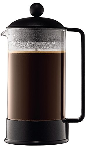 Bodum 1548-01 BRAZIL Kaffeebereiter (French Press System, Permanent Edelstahl-Filter, 1,0 liters) schwarz