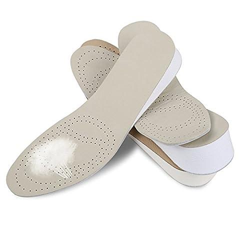 SOUMIT Erhöhung Höhe Einlegesohlen   Unsichtbar Komfortable Echtes Leder Schuhe Pads, Weiche Taller Cushion Pad Schuherhöhung (Höhe Auswählbar: 4CM)