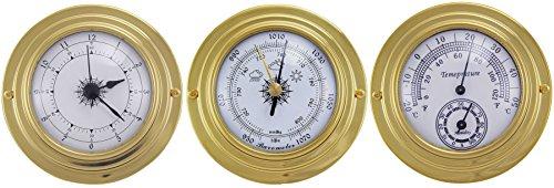 3 analoge Instrumente Ø 10 cm aus massivem Messing im Nautikstil zur Bestimmung der Uhrzeit (12h Anzeige), des Luftdruckes, der Luftfeuchtigkeit und der Temperatur -