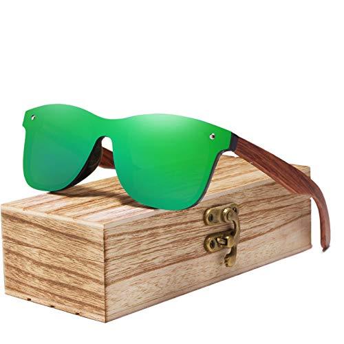 Zbertx Randlose Polarisierte Holz Sonnenbrille Männer Quadratischen Rahmen Uv400 Sonnenbrille Frauen Sonnenbrille Männlich,Grün