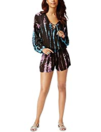 abff755d806 Raviya Lace-up Tie-Dyed Romper Cover-up Women's Swimsuit Black Large