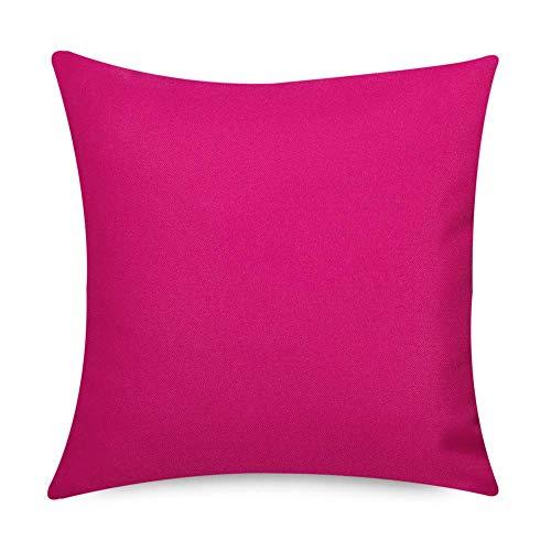Bean Bag Bazaar® Gartenkissen, 2er Pack, Rosa, 43cm x 43cm, Kissen Wasserabweisend, Textilfaserfüllung-, Dekoratives Zierkissen für Gartenbänke, Stühle oder Sofas