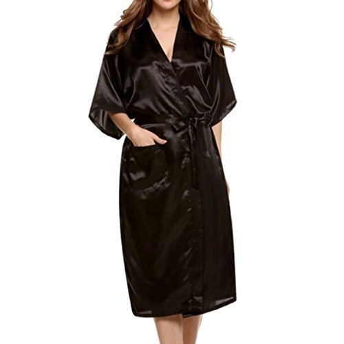 Juleya Lange Robe Sexy Faux Silk Satin Nacht Robe Kimono Robe Solide Bademantel Mode Morgenmantel Schwarz M (Robe Silk Schwarz)