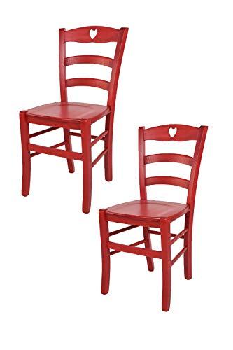 Tommychairs - 2er Set: Stühle Cuore 38 für Küche und Esszimmer, Robuste Struktur aus Buchenholz, in Anilinfarbe Rot und Sitzfläche aus Holz -