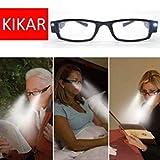 kikar (+ 3.00) Unisex Gafas de Lectura de luz LED con carcasa de elegante Resistente–Mejorar Su Vision incluso en la oscuridad.