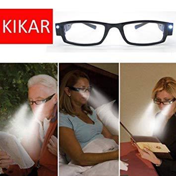 kikar (+ 3.00) Unisex Gafas de Lectura de luz LED con carcasa...