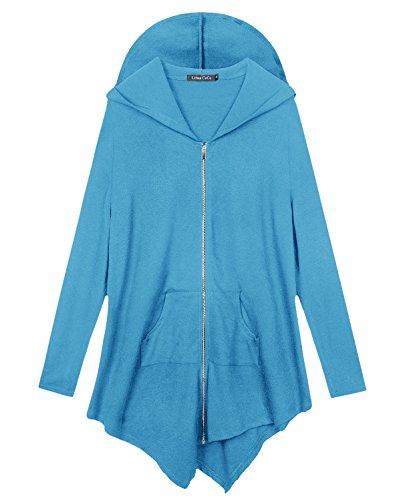 4x Sweatshirt (Urbancoco Damen Lose Zip Hooded Sweatshirt Jacke Handchief Saum (4X-Large, Blau))