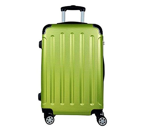 Reisekoffer BERLIN Hartschale Trolley L Reise Koffer Case Tasche Trolly Doppelrollen (Apfelgruen)