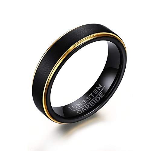 C-YG 5mm schwarz Wolfram Stahl Ringe für männer Frauen Engagement Hochzeit Band gebürstet Komfort fit größe 6-12,11