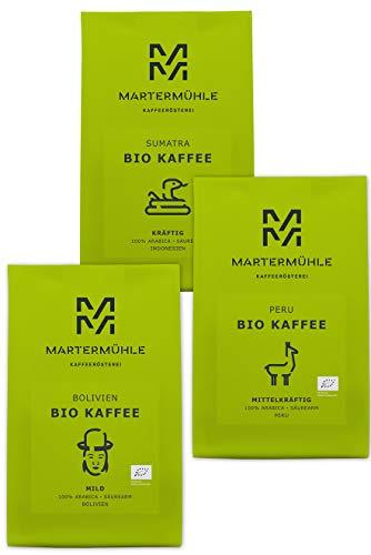 BIO Kaffee Probierset 3x250g - Bio Kaffeebohnen Von Der Kaffeerösterei Martermühle: Kaffeebohnen...
