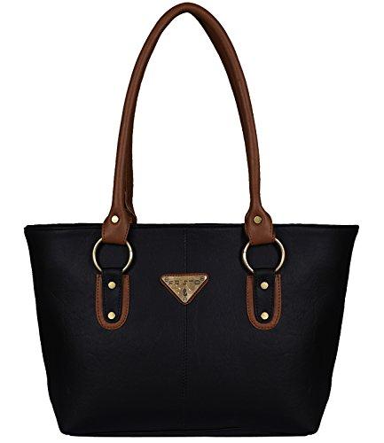 Fristo Women's Handbag(FRB-204)Black and Tan