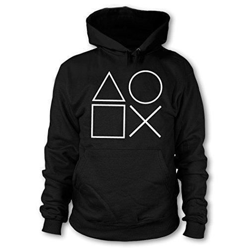 shirtloge - Gaming Symbols - Kult Gamer - Kapuzenpullover - Schwarz (Weiß) - Größe S