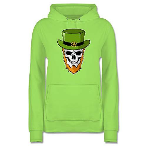 Nerd Kostüm Mustache - St. Patricks Day - St. Patricks Day - Totenkopf - XXL - Limonengrün - JH001F - Damen Hoodie