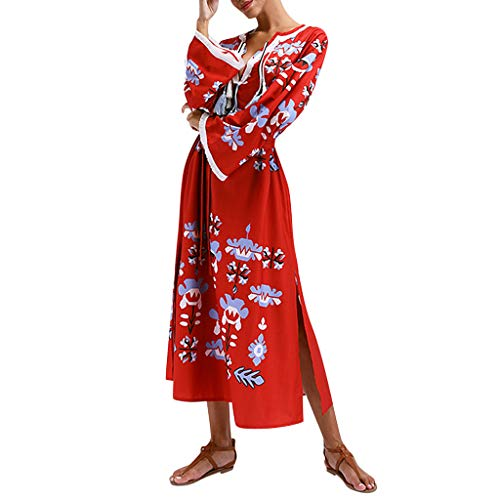 Hahuha , Women Dress. Frauen Bohemian Style Long Sleeve Loose Printed Tassel Summer Dress
