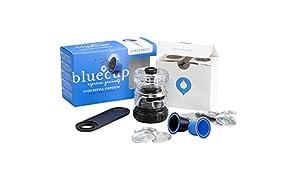 Bluecup Cápsulas Reutilizables Nespresso Cafeteras, Recargables Compatibles con Nespresso Máquinas, 2 Cápsulas Rellenables + 100 Tapas + 1 Sellador de cápsulas + 1 Cuchara