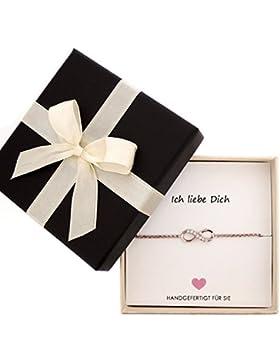Sovats Damen Geschenk Unendlichkeits Rosegold Kette-Armband mit Stein (Ich liebe Dich)